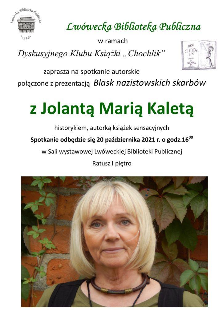 Spotkanie autorskie z Jolantą Marią Kaletą